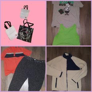 8 women sweatpants jacket tee L+ Lululemon bags